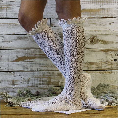 CROCHET tall lace boot socks - ivory - Catherine Cole Studio