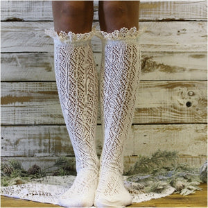 lacy boot socks - crochet tall boot socks - ivory lace socks