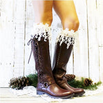 lace boot sock - cream rosebud lace sock - ivory lace tall boot socks - long - crochet