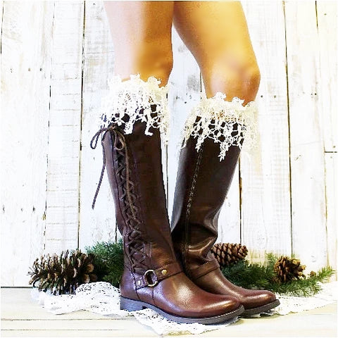 lace boot sock - cream - lace sock - ivory - tall boot socks - long - crochet