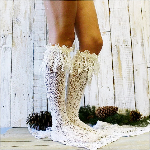 ivory lace boot socks - ivory  lace socks - ivory boot socks - rosebud - long lace - crochet