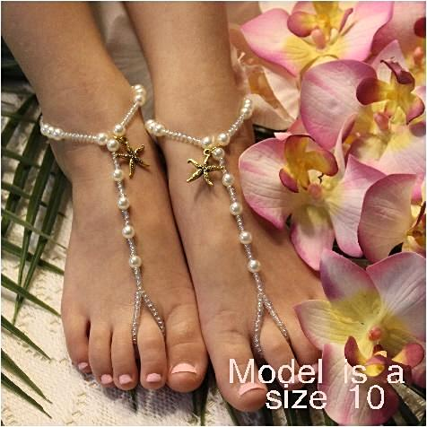 KEY WEST flower girl starfish barefoot sandals - gold - Catherine Cole Studio