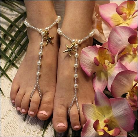 KEY WEST flower girl starfish barefoot sandals - gold -custome wedding foot jewelry etsy