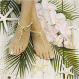 starfish barefoot sandals - gold - starfish foot jewelry - pearls - beaded