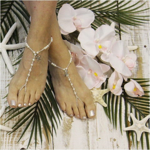 starfish barefoot sandals - starfish foot jewelry - wedding - beach - pearls - beads