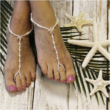 STARFISH rose gold barefoot sandals wedding - pearl - Catherine Cole Studio  - 2
