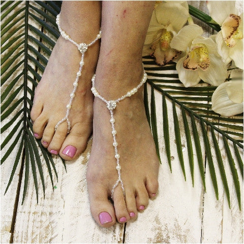 ELEGANCE  wedding barefoot sandals - bridal footless sandals women etsy custom
