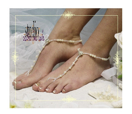 ELEGANCE  wedding barefoot sandals - bridal foot jewelry custom etsy womens