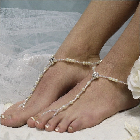 ELEGANCE  wedding barefoot sandals -  footless sandals women handmade etsy Angel