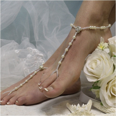 ELEGANCE  wedding barefoot sandals - beach wedding jewelry women pearls silver