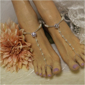 rose gold rhinestone barefoot sandals etsy best jewelry