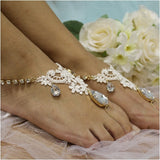 lace barefoot sandals - lace  foot jewelry - lace  - diamante - woman