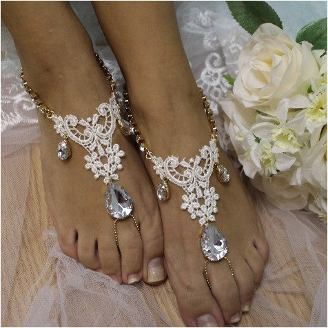 ROMANCE lace barefoot sandals - ivory - Catherine Cole Studio