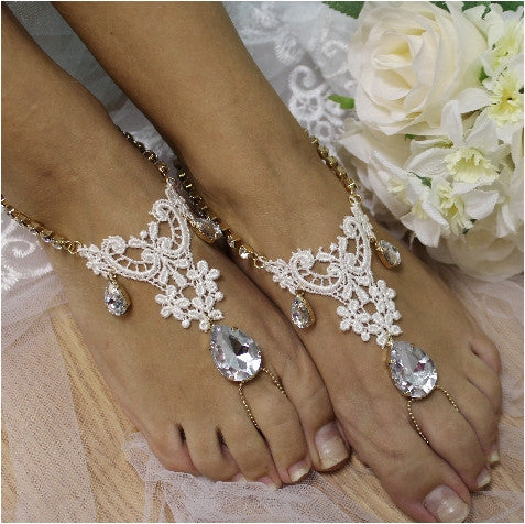 lace  barefoot sandals - lace foot jewelry - lace footless sandals