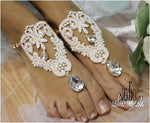 ROMANTIC lace barefoot sandals - ivory - Catherine Cole Studio