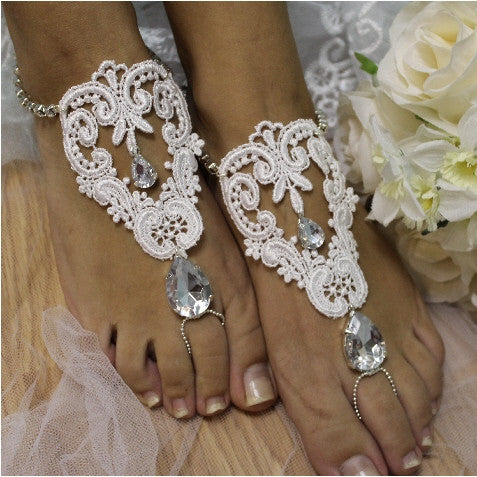 ROMANTIC lace barefoot sandals - white -lace wedding foot jewelry etsy handmade