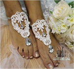 barefoot sandals - white - lace - weddng  - foot jewelry - woman
