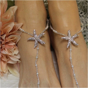 STARFISH barefoot sandals wedding - rose gold  footless beach wedding etsy