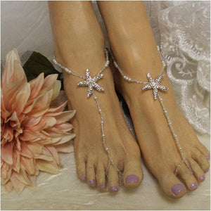 STARFISH barefoot sandals wedding - rose gold  foot jewelry women bridal etsy