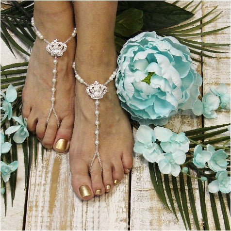 tiara barefoot sandals - crown barefoot sandals - rhinestone barefoot sandals