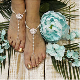 barefoot sandals - tiara -wedding- foot jewelry - ribbon - diamante