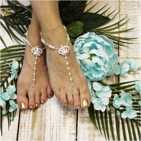 CHARLOTTE  tiara barefoot sandals - best flower girl fashion wedding