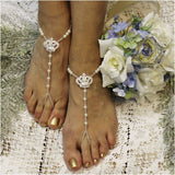CHARLOTTE  tiara barefoot sandals - crown barefoot sandals