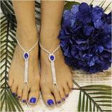sapphire blue  barefoot sandals - sapphire blue foot jewelry - silver foot jewelry