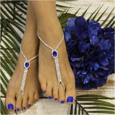 BRIDESMAID  rhinestone barefoot sandals - sapphire blue - Catherine Cole Studio  - 1