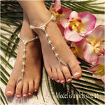 SEA OF LOVE  flower girl barefoot sandals - girls pearl foot jewelry etsy custom