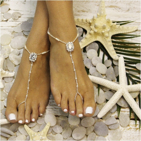 CRYSTAL barefoot sandals - crystal foot jewelry - crystal wedding sandals