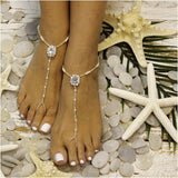 CRYSTAL barefoot sandals - beaded barefoot sandals - crystal wedding barefoot sandals