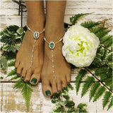 foot jewelry- emeral green - irish - barefoot sandals - wedding - beach - rhinestones - crystals