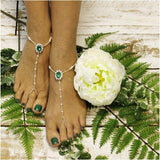 green barefoot sandals - emerald green foot jewelry -  irish wedding- foot jewelry - diamante - rhinestone