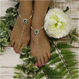feet jewelry- emeral green - irish - barefoot sandals - wedding - beach - rhinestones - crystals