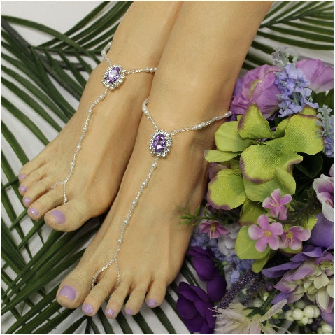 LAVENDER  beaded barefoot sandals - lilac wedding foot jewelry etsy angel