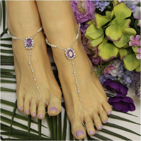 LAVENDER  beaded barefoot sandals - lilac wedding womens jewelry etsy Angel gay