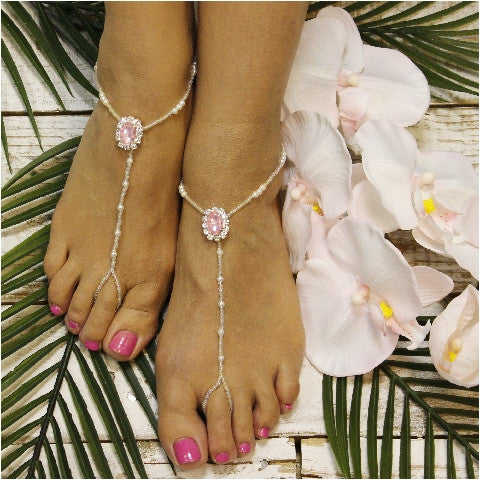 PINK beaded barefoot sandals - Catherine Cole Studio