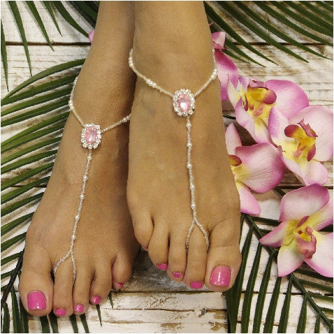 barefoot sandals -pink - pearls - beaded - crystals- boho - wedding -beach