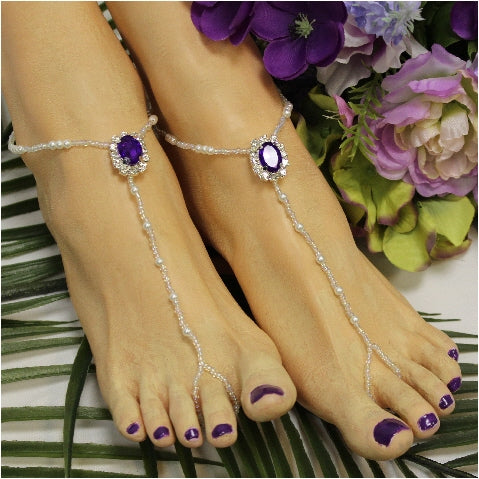 Wedding barefoot sandals handmade  purple - bridal foot jewelry women beach etsy
