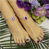 purple beaded barefoot sanals