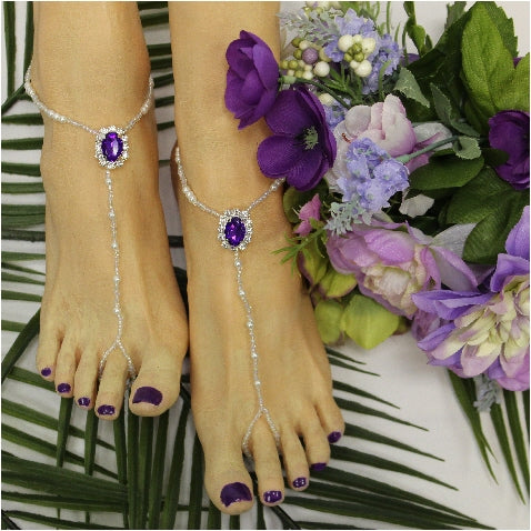 wedding foot jewelry beaded  purple - handmade wedding foot jewelry etsy