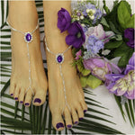 Pearl bead feet jewelry wedding  purple - wedding foot jewelry custom etsy handmade