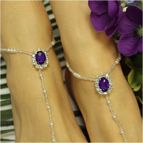 purple barefoot sandals - beaded barefoot sandals - handmade barefoot sandals