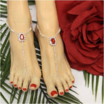 RUBY beaded barefoot sandals  - red jewel footless sandals women etsy angel