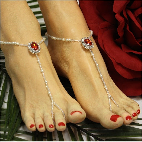 RUBY beaded barefoot sandals  - red - Catherine Cole Studio  - 1