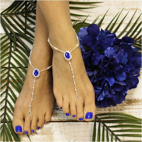 blue  beaded barefoot sandals  - royal blue foot jewelry - blue wedding - beaded
