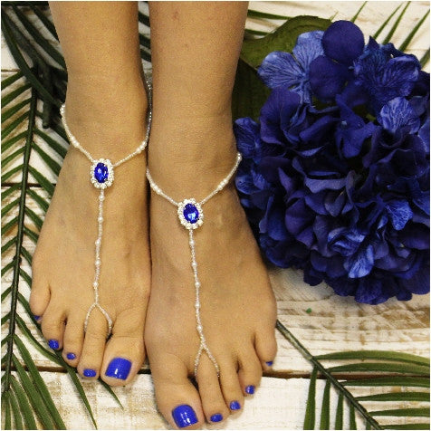 sapphire foot jewelry - royal blue barefoot sandals