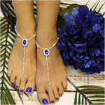SAPPHIRE beaded barefoot sandals  - royal blue  wedding foot jewelry handmade etsy angel