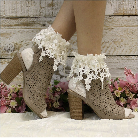 rosebud lace socks - ankle socks women